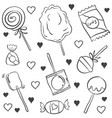candy various hand draw doodles vector image vector image