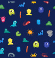cartoon bacteria characters seamless pattern vector image