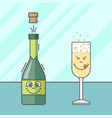 cartoon bottle of champagne and a glass vector image
