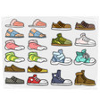 Cartoon different shoes and soks icons