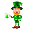 cartoon saint patrick with beer isolated vector image vector image