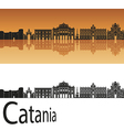 Catania skyline in orange background vector image vector image