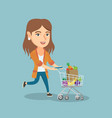 caucasian woman running with a shopping trolley vector image vector image