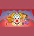 circus horizontal banner clown cartoon style vector image vector image