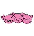 color happy cute animals head friends vector image