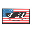 cool sunglasses american flag cartoon vector image