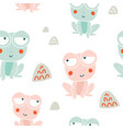 cute frogs characters seamless pattern vector image