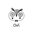cute simple owl face cartoon style vector image