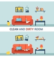 Dirty and clean room vector image