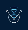 dna with leaves line colored icon on dark vector image vector image