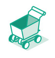 empty supermarket trolley shopping cart outline vector image vector image