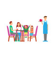 family eating and drinking at restaurant servant vector image vector image