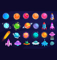 fantasy space set isolated on dark background vector image