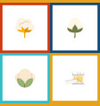 flat icon cotton set of cotton flower knitting vector image vector image