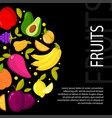 fruits on black background with vector image vector image