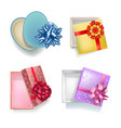 gift boxes with open covers realistic colorful set vector image vector image
