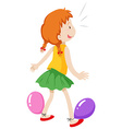 Girl playing with balloons vector image vector image
