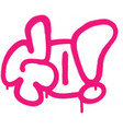 graffiti sprayed go word in pink on white vector image vector image