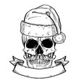 hand drawn angry skull of santa claus vector image