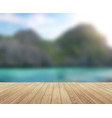 island blue sky with clouds and wood planks floor vector image
