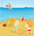 Kids playing at beach vector image vector image