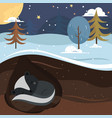 let it snow skunk sleeping in the hole vector image vector image