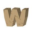 letter w stone font rock alphabet symbol stones vector image vector image