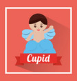 love cute cupid in cloud waving hand vector image