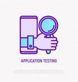 mobile app testing thin line icon hand vector image