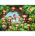 Monkeys living in the forest vector image vector image