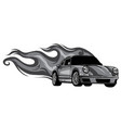 monochromatic fast car flames vector image