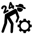 Nonstop Working Person Flat Icon vector image vector image