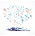Open book education concept doodle vector image vector image