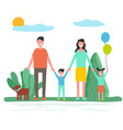 parents with children and pet in summer forest vector image vector image