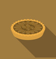 pecan pie in flat design with long shadow vector image vector image