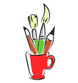 pencils and brushes in red cup on white vector image vector image