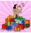 Pop Art Woman with Megaphone Promoting Big Sale vector image vector image