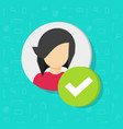 profile with checkmark icon flat woman vector image vector image