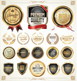 quality gold and gray badges and labels collection vector image vector image