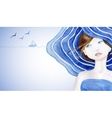 Rerto styled beautiful woman on sea backdround vector image vector image