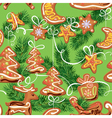 seamless christmas pattern - xmas gingerbread vector image