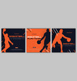 set basketball banners with players modern vector image vector image