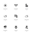 set of 9 editable climate icons includes symbols vector image vector image