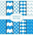 Set of seamless retro vintage blue marine vector image vector image