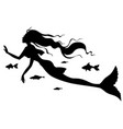 silhouette of mermaid with fish vector image vector image