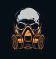 skull with respirator on black background vector image vector image