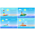 surfing and swimming banana boat and jet ski vector image vector image