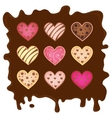 sweetmeats in form heart on chocolate background vector image