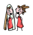the young beautiful girl looks in a mirror and vector image vector image