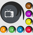 tv icon sign Symbols on eight colored buttons vector image